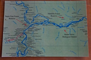 A map of the area around Iquitos, Peru