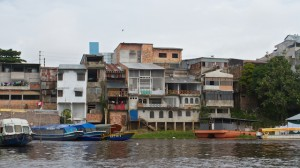 Boating into Iquitos, Peru after spending a week in the Amazon Rain Forest.