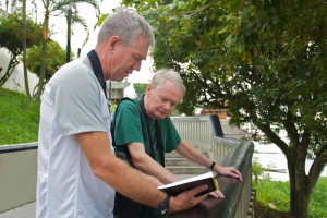 Devon and Ingvar birding on the Iquitos riverfront.